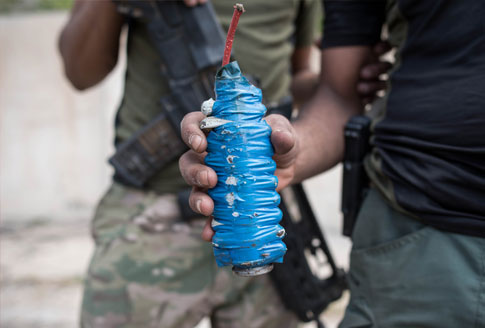 An improvised explosive device found in west Mosul, Iraq on May 2017 (credit Campbell MacDiarmid)